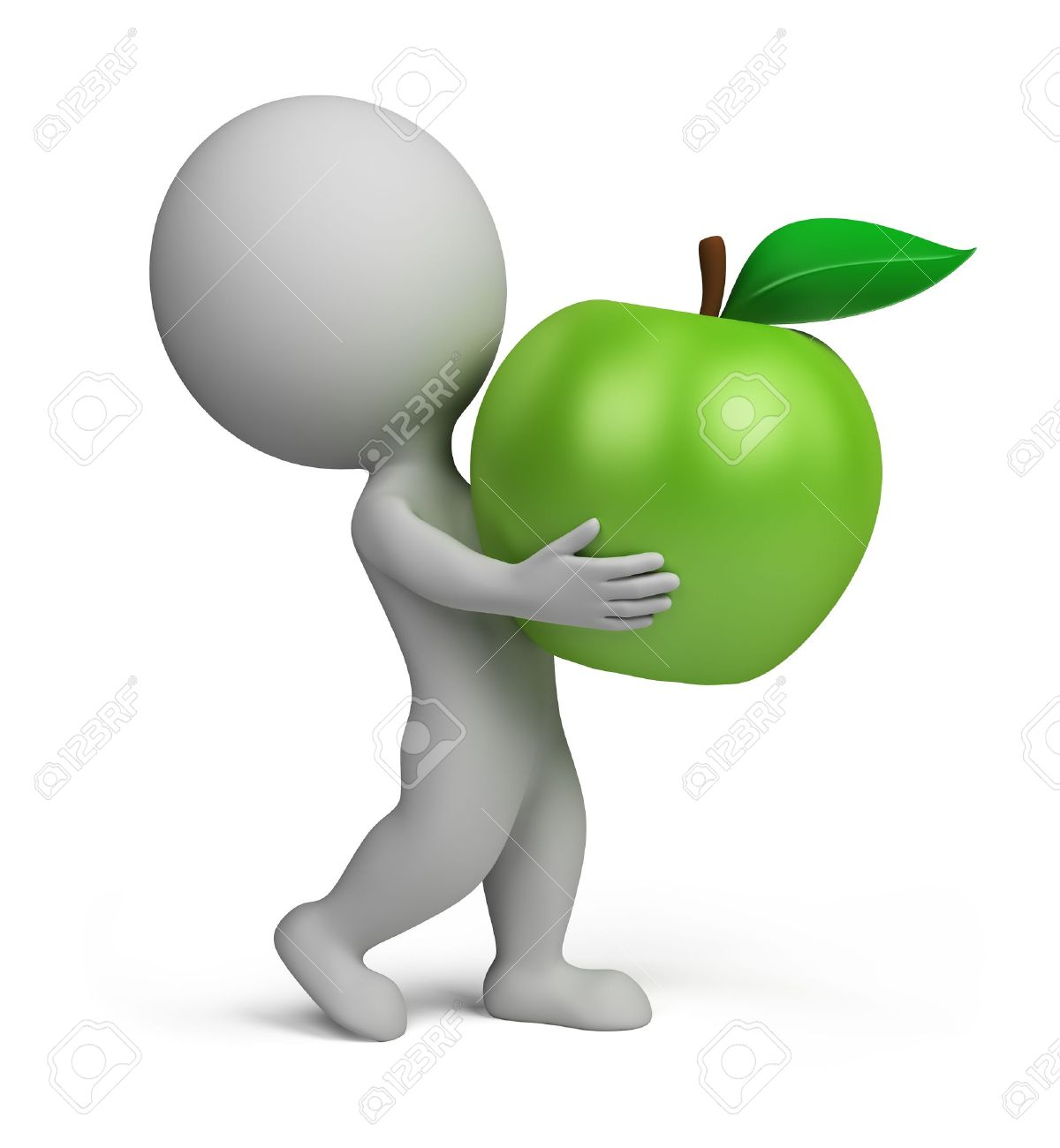 3d small person carrying a green apple. 3d image. Isolated white background. Stock Photo - 10993442