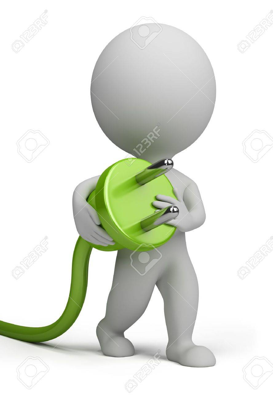 3d small person carrying in his hand an electric plug. 3d image. Isolated white background. Stock Photo - 10993443