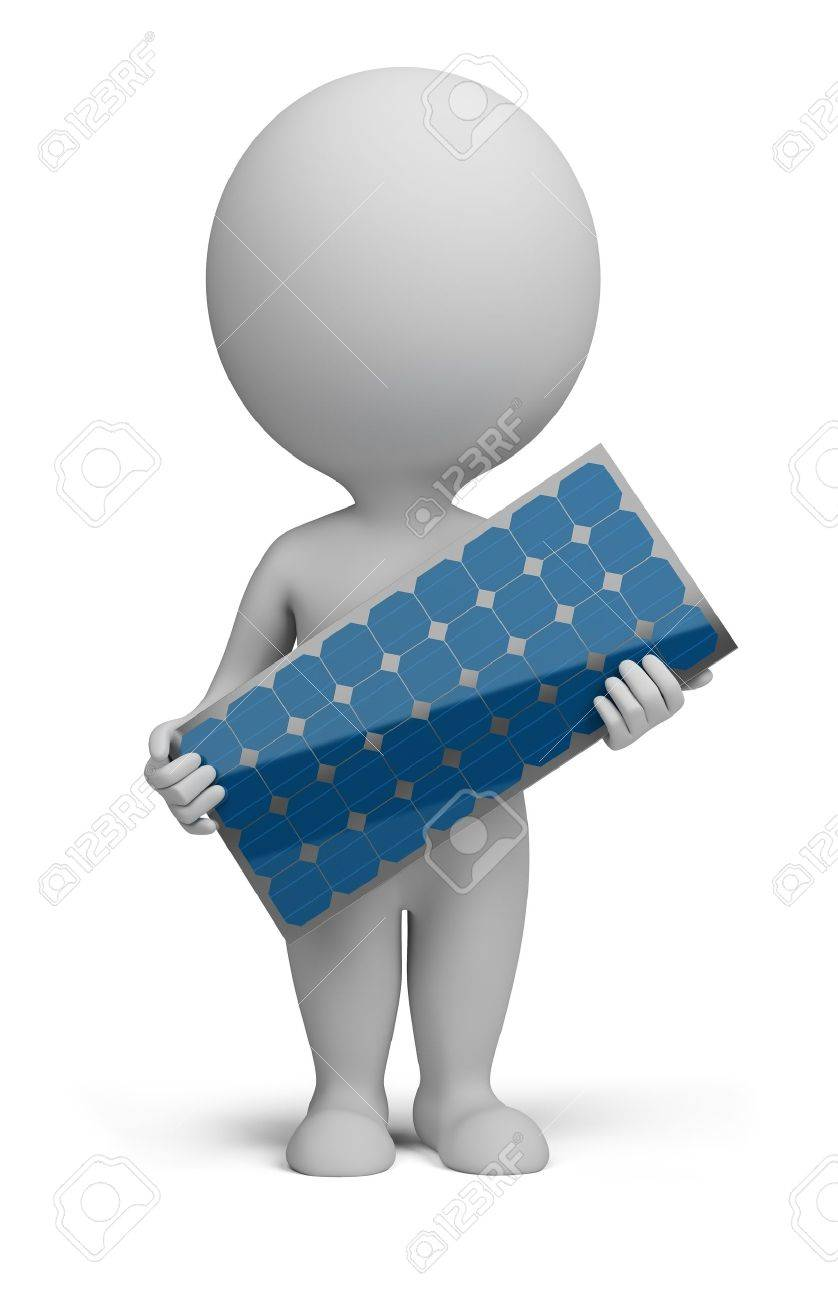 3d small person standing with a solar panel in the hands of. 3d image. Isolated white background. Stock Photo - 11807774
