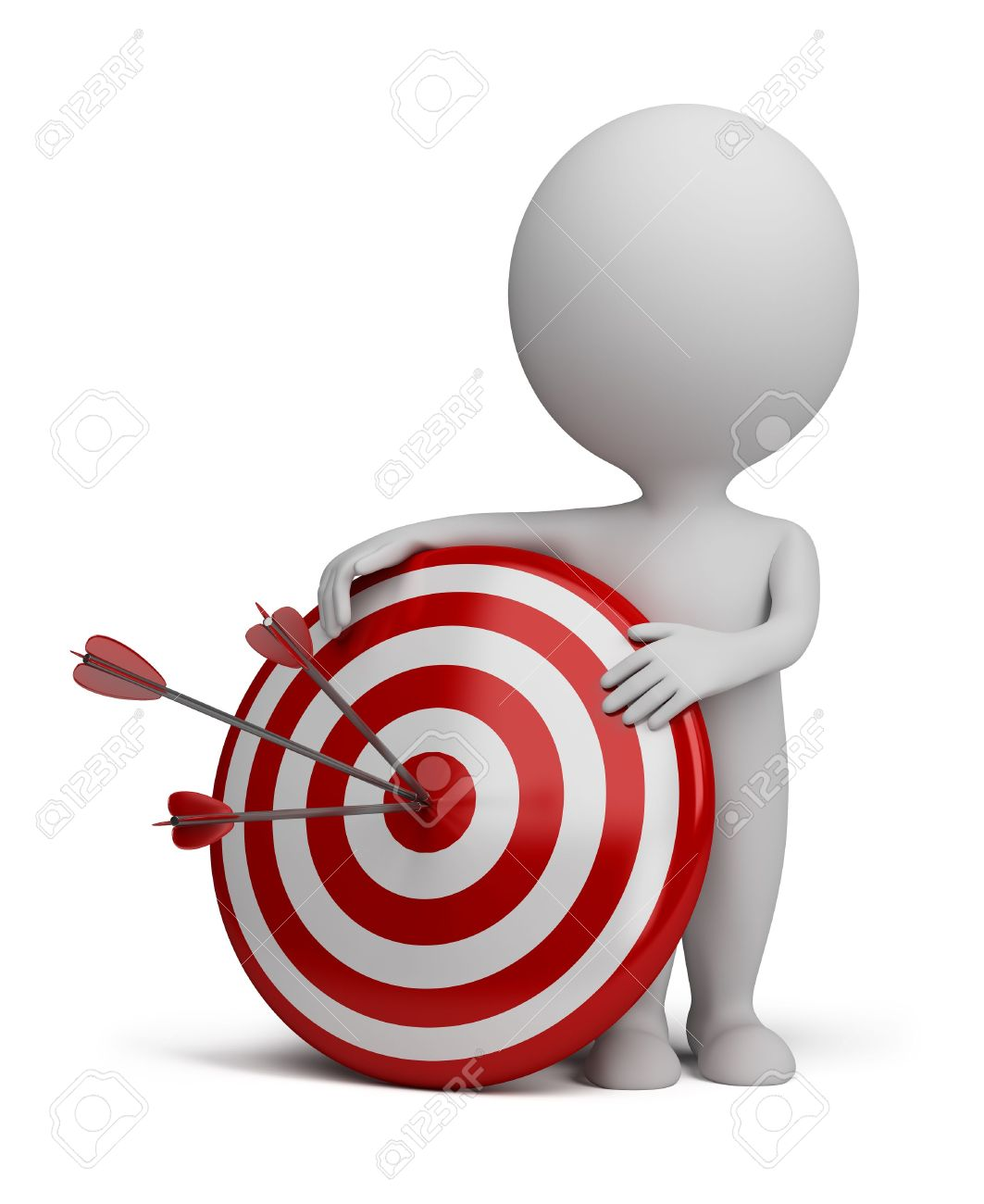 3d small person next to target with three darts stuck in the bull Stock Photo - 12323216