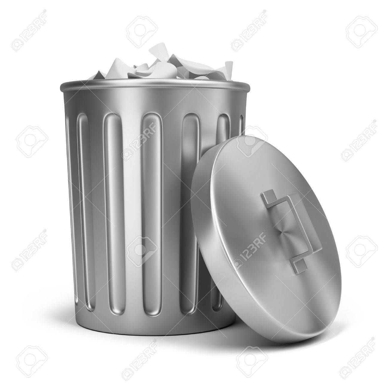 steel trash can 3d image isolated white background stock photo