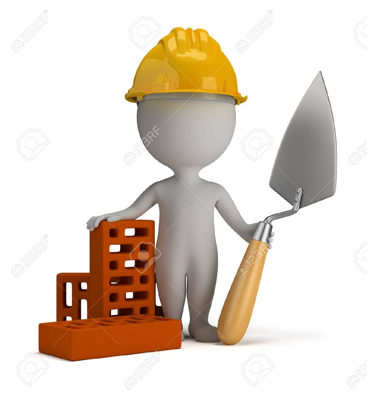 3d small person - builder in the helmet with a shovel and bricks  3d image  Isolated white background Stock Photo - 13254889