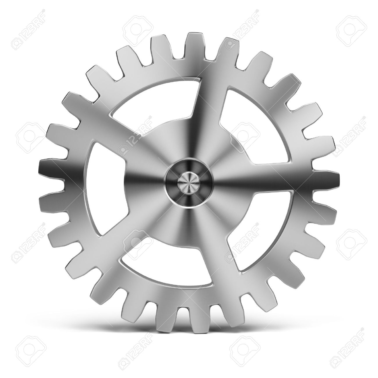 polished stainless steel gear  3d image  Isolated white background Stock Photo - 13254897