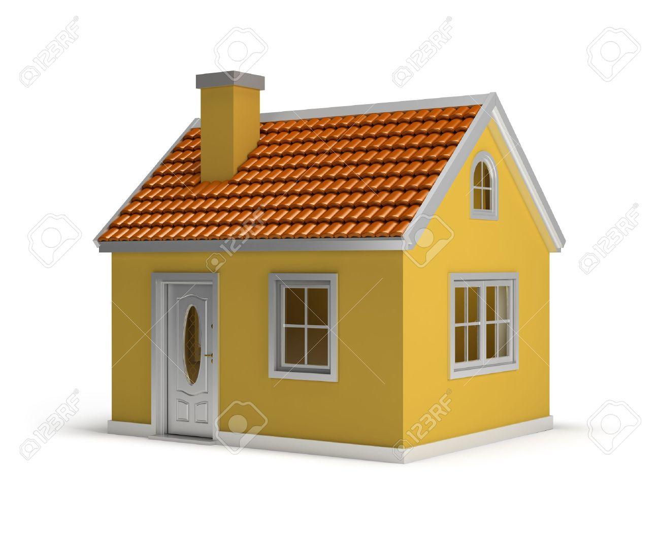 Banque dimages maison jaune image 3d isolé sur fond blanc