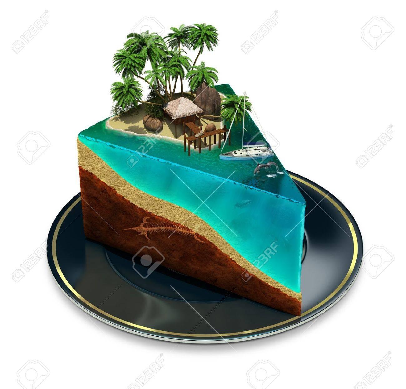 Standard Bild   Stück Kuchen Auf Einem Teller Mit Einer Tropischen Insel  Top 3D Bild Isoliert Weißem Hintergrund