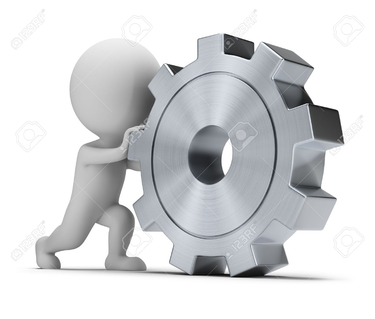 3d petite personne obtient un grand engrenage. Image 3d. Isolé sur fond blanc. Banque d'images - 14573946
