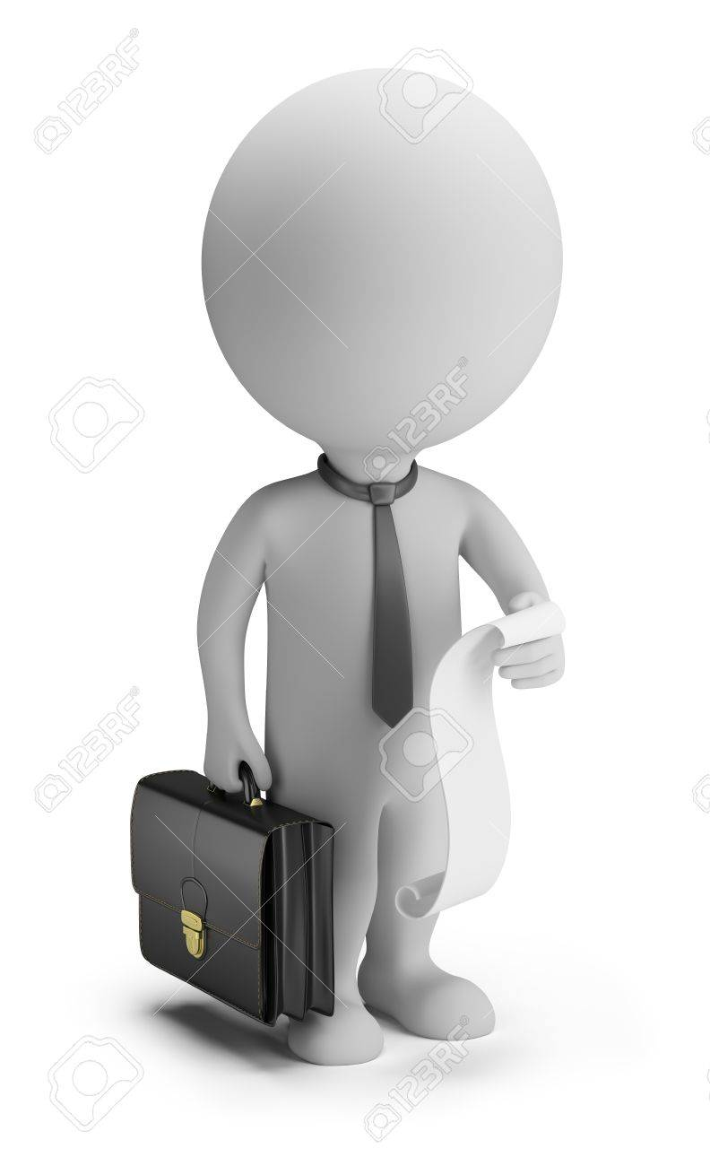3d small person - businessman with a list of cases and a briefcase  3d image  Isolated white background Stock Photo - 14723577