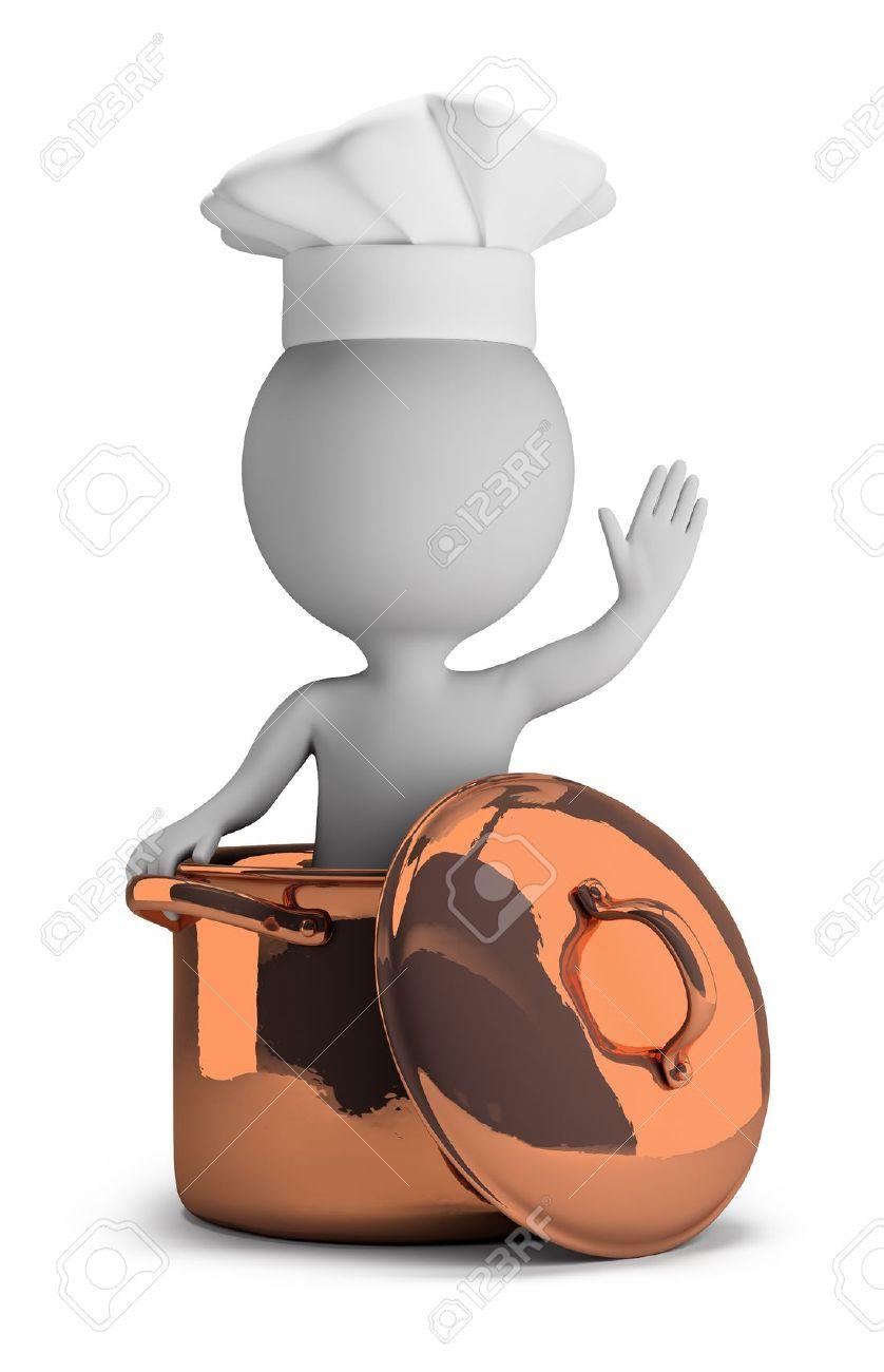 persona pequea cocinero en una cacerola de cobre en una bienvenida plantean imagen
