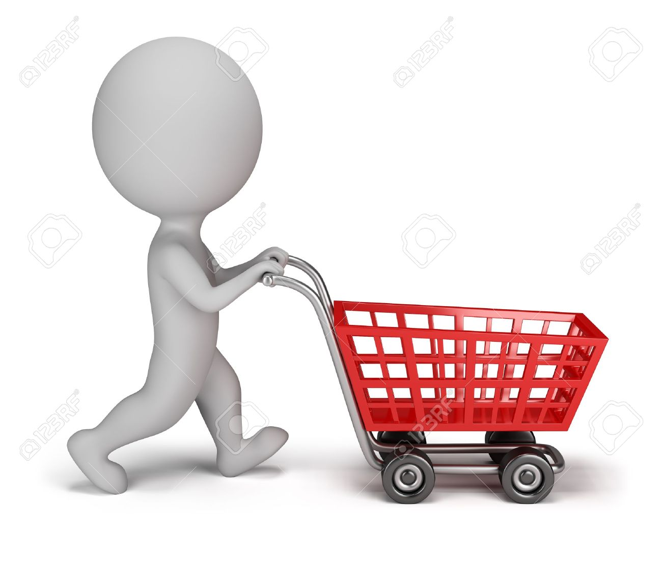 3d small person with a shopping cart  3d image  Isolated white background Stock Photo - 14723568