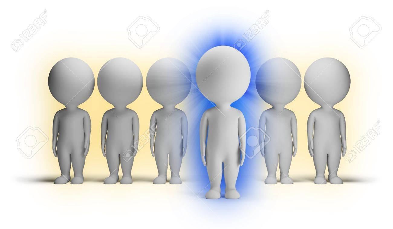 3d small people with aura indigo against ordinary people. 3d image. Isolated white background. Stock Photo - 15066846