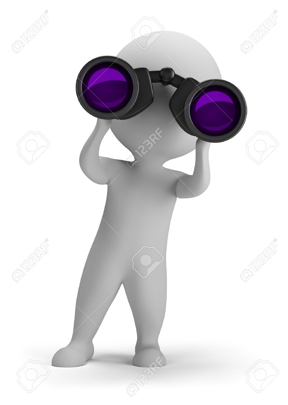 3d small person looking through binoculars. 3d image. Isolated white background. - 15066838