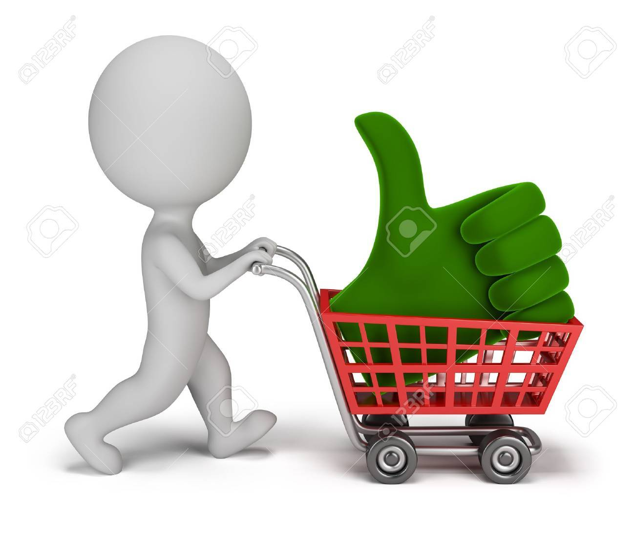 3d small person carrying a positive symbol in the cart. 3d image. Isolated white background. Stock Photo - 15066845