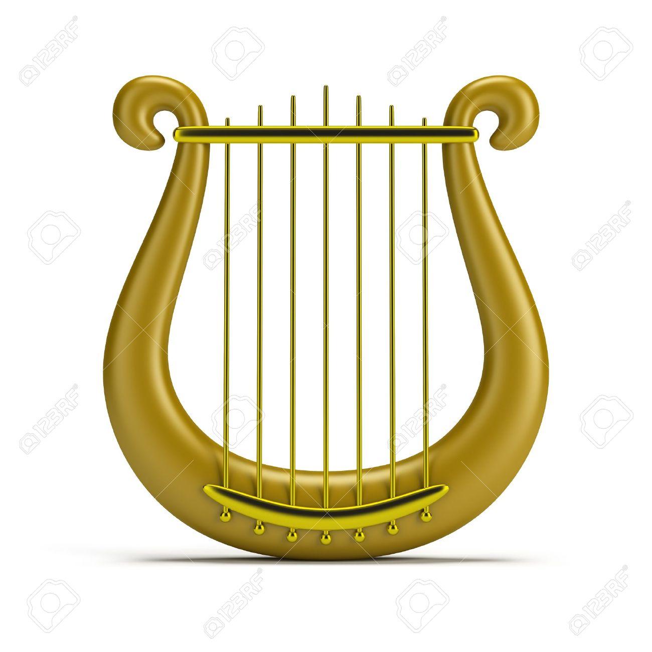 golden harp. 3d image. Isolated white background. - 15066844
