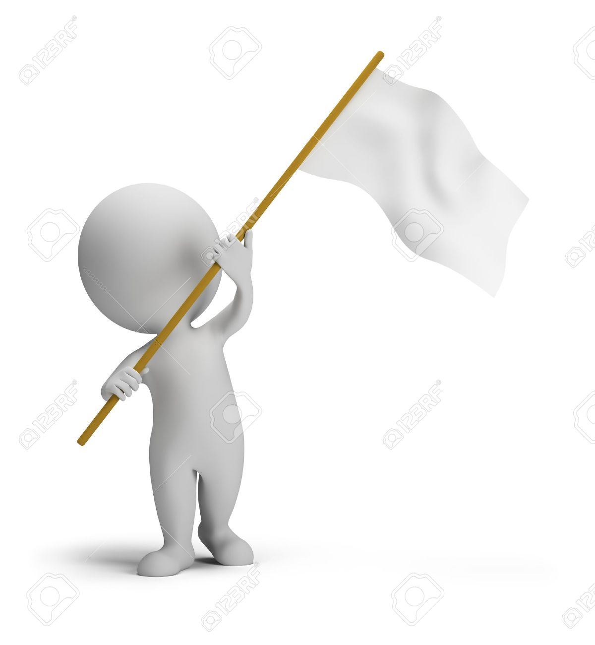 3d small people waved flags. 3d image. Isolated white background. Stock Photo - 15417590