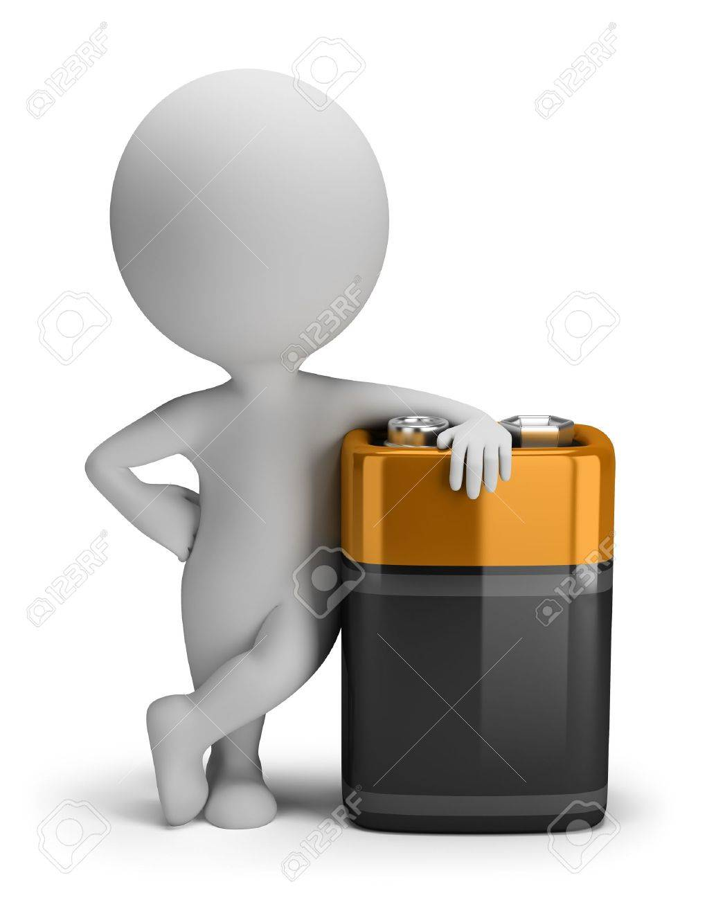 3d small person with a big battery. 3d image. Isolated white background. Stock Photo - 16452391