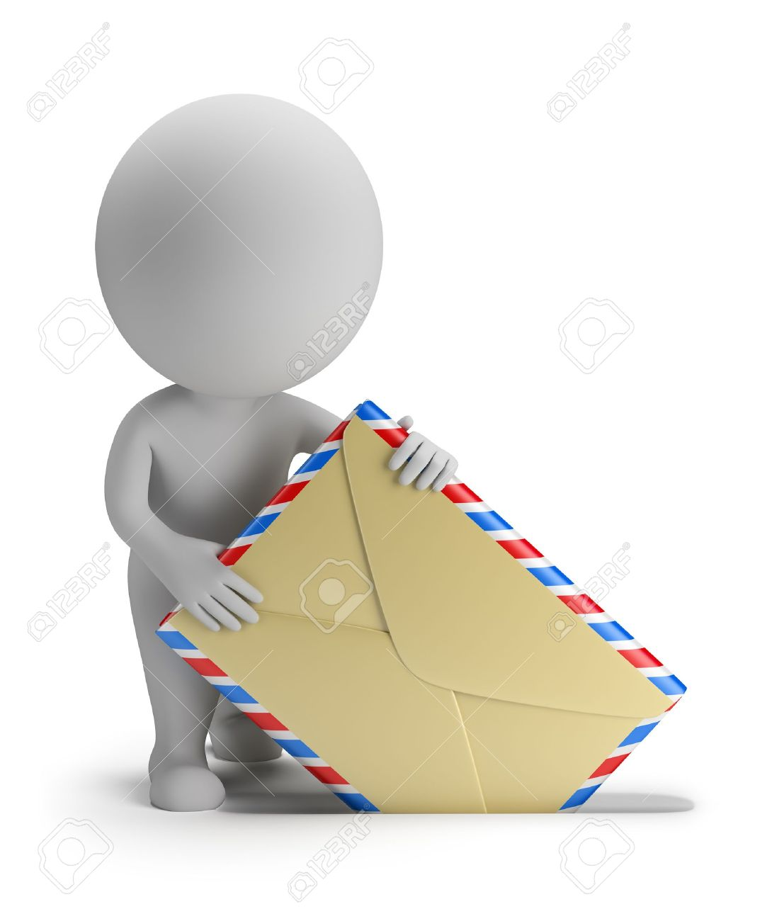 3d small person sends letter. 3d image. Isolated white background. - 16452388