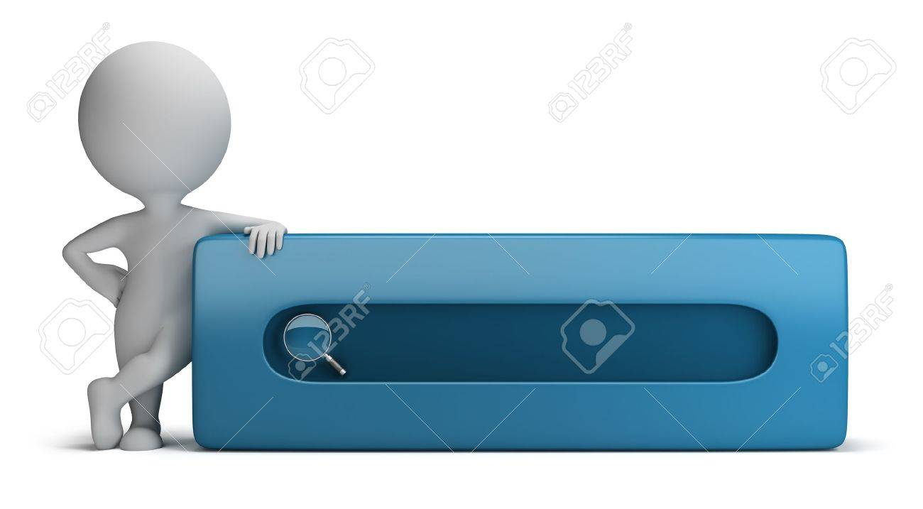 3d small person standing next to the search bar. 3d image. Isolated white background. Stock Photo - 16805597