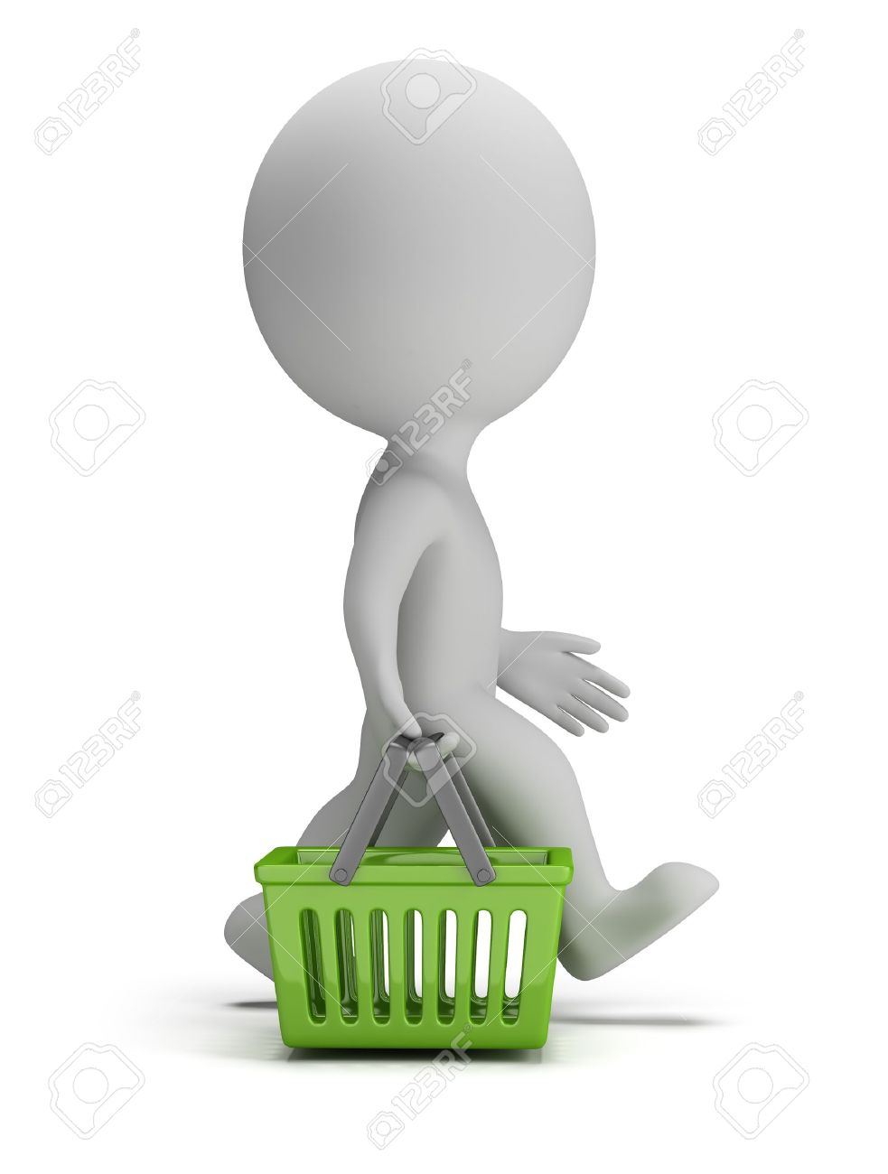 3d small person goes with a green shopping basket. 3d image. White background. Stock Photo - 19874617