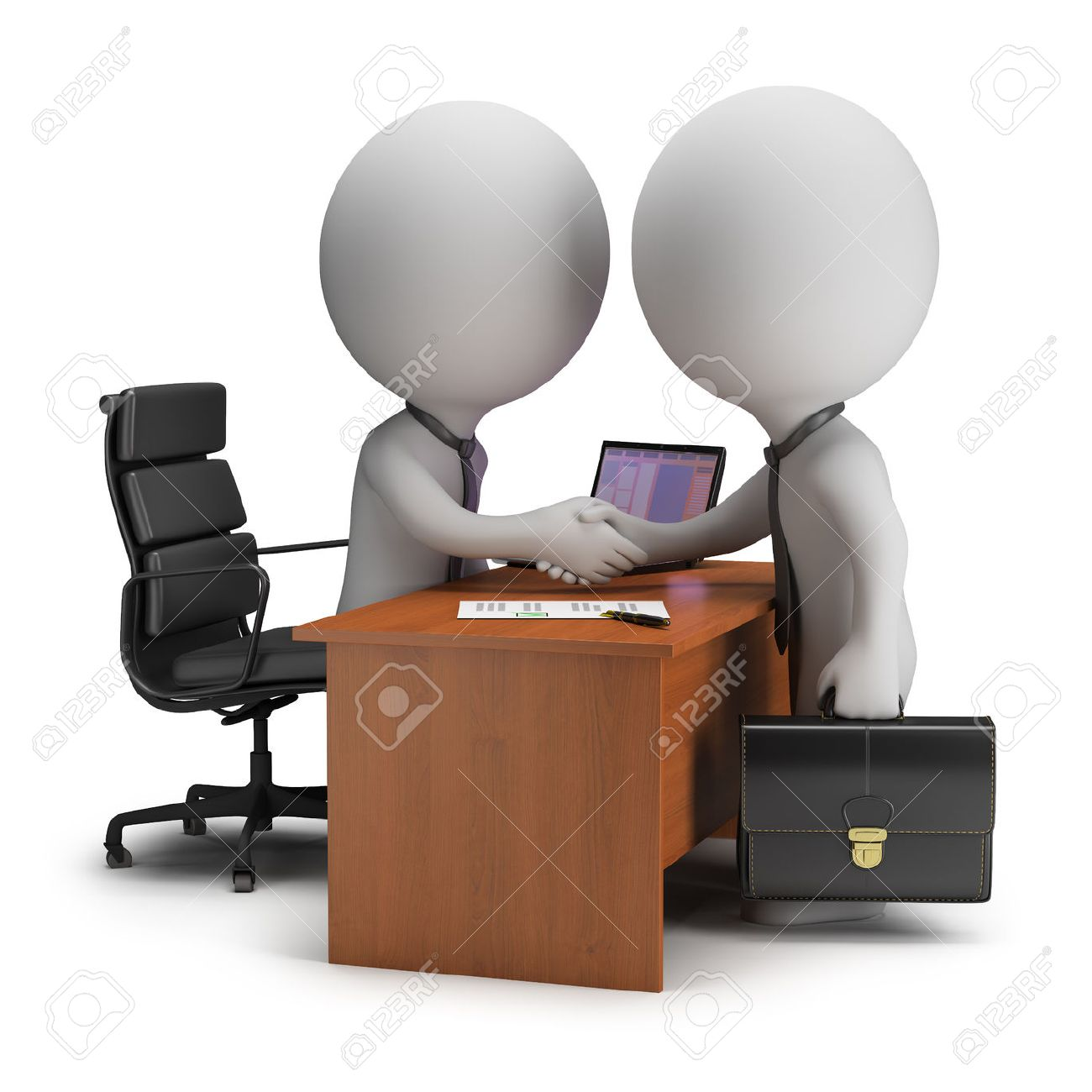 Two 3d small people have signed the agreement near the desk  3d image  White background Stock Photo - 23327695