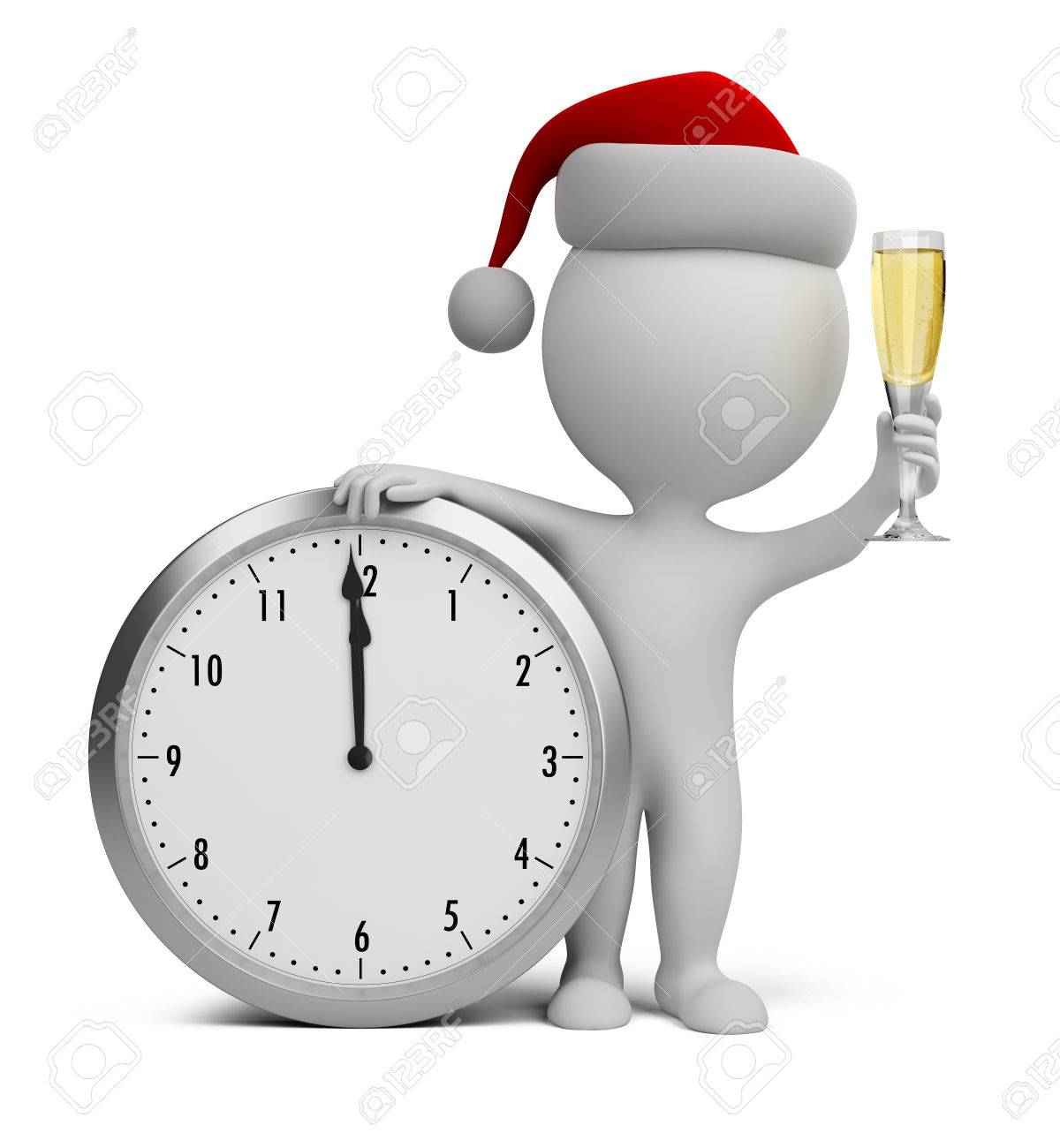 3d small person - Santa with a glass of champagne next to the clock 3d image - 24561294