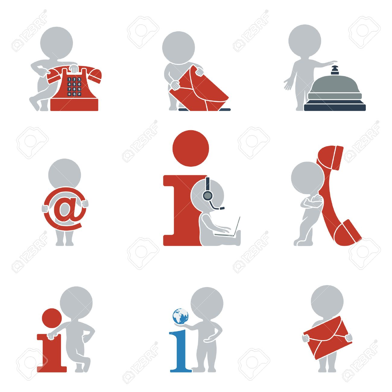 Collection of flat icons with people on contacts and information. Vector illustration. Stock Vector - 24644435