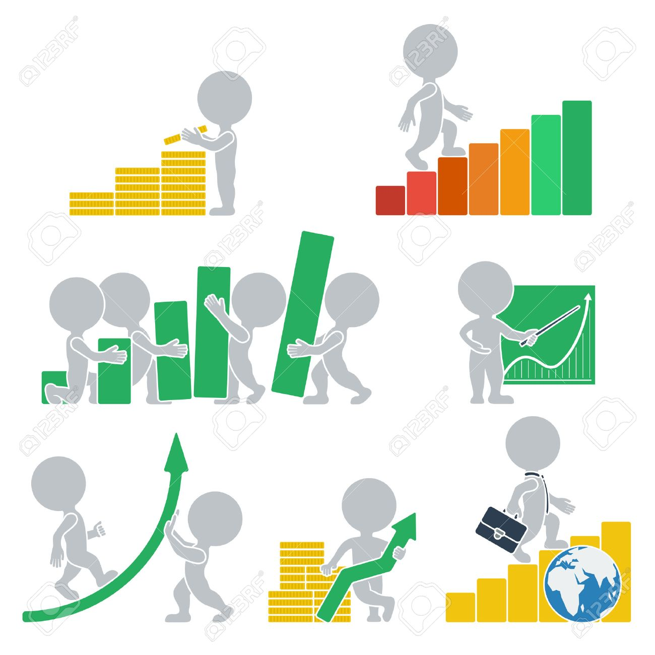 Collection icons with people flat on statistics. Vector illustration. - 24644441