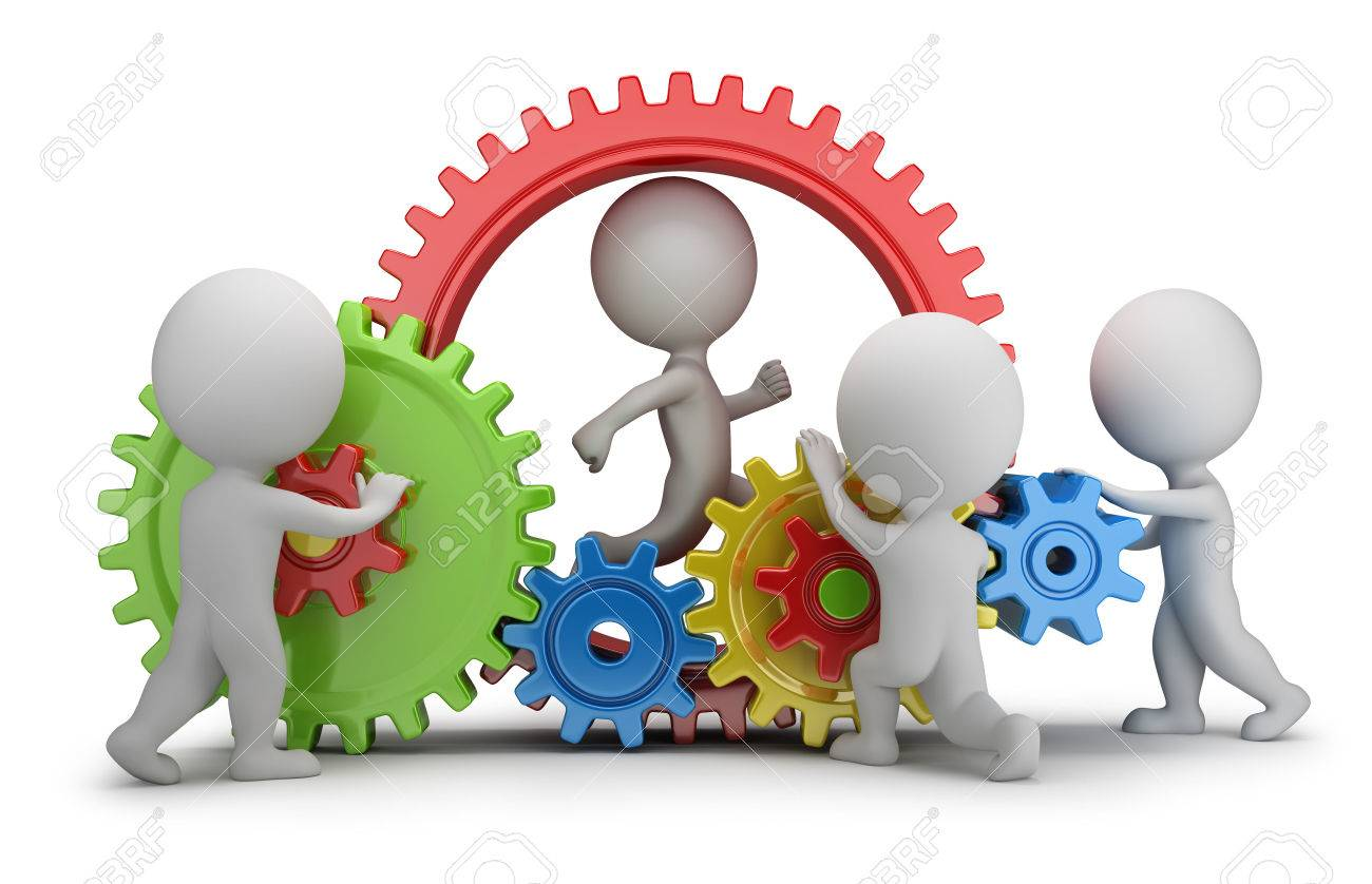 3d small people - team twisting multicolored gears  3d image  White background Stock Photo - 26583773