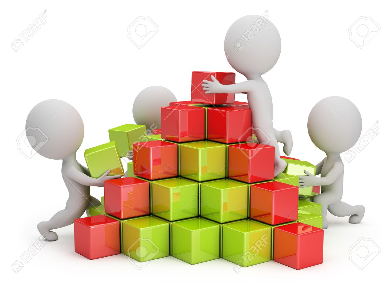3d small people are building a pyramid of colored cubes 3d image White background - 26583776