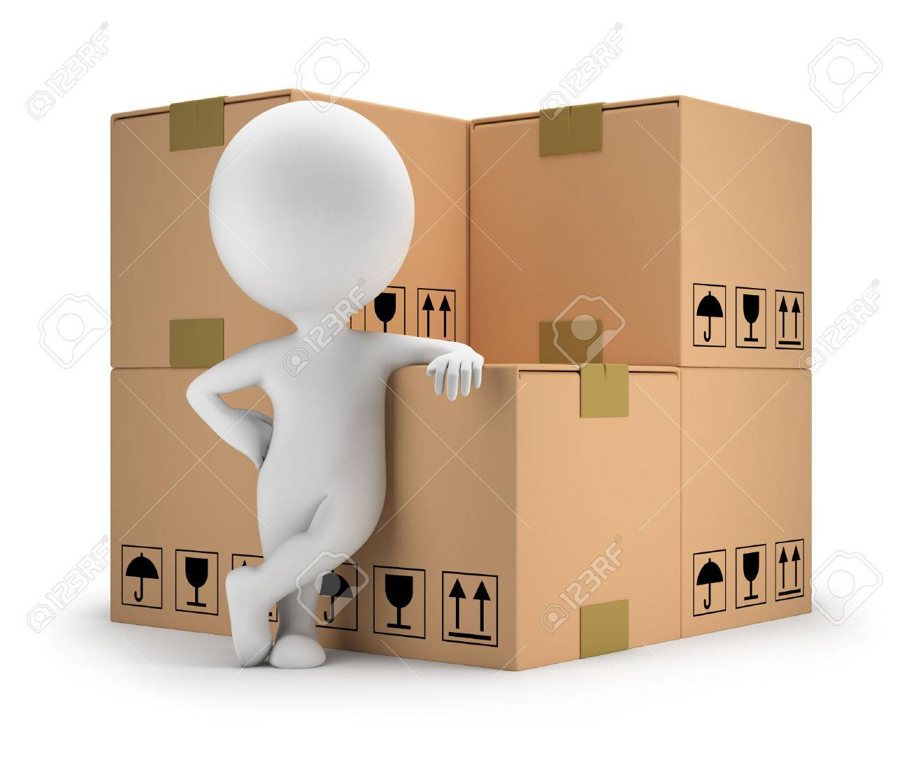 3d small person standing next to cardboard boxes 3d image White background - 26583777