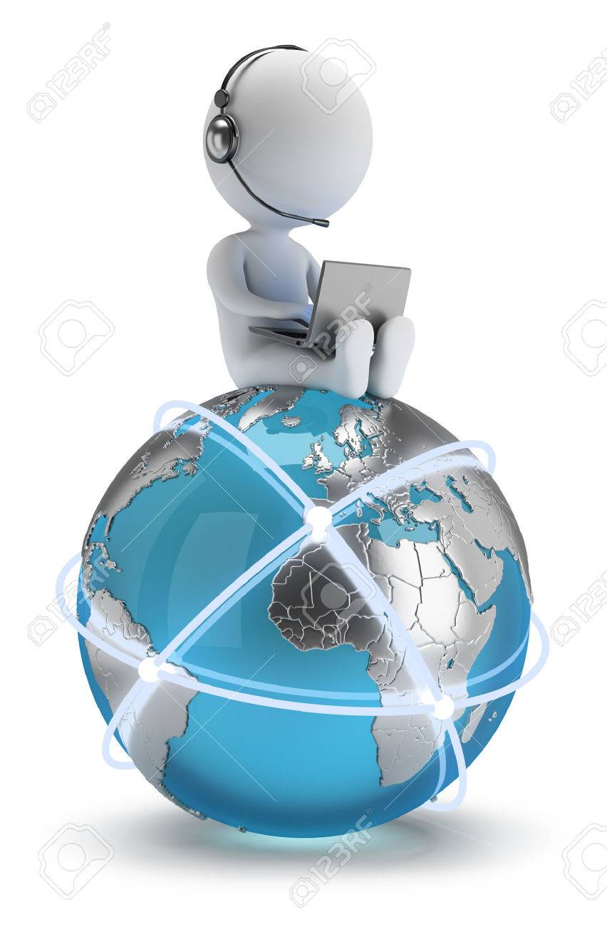 3d small person sitting with a laptop on the Earth with a global network 3d image White background - 26583778