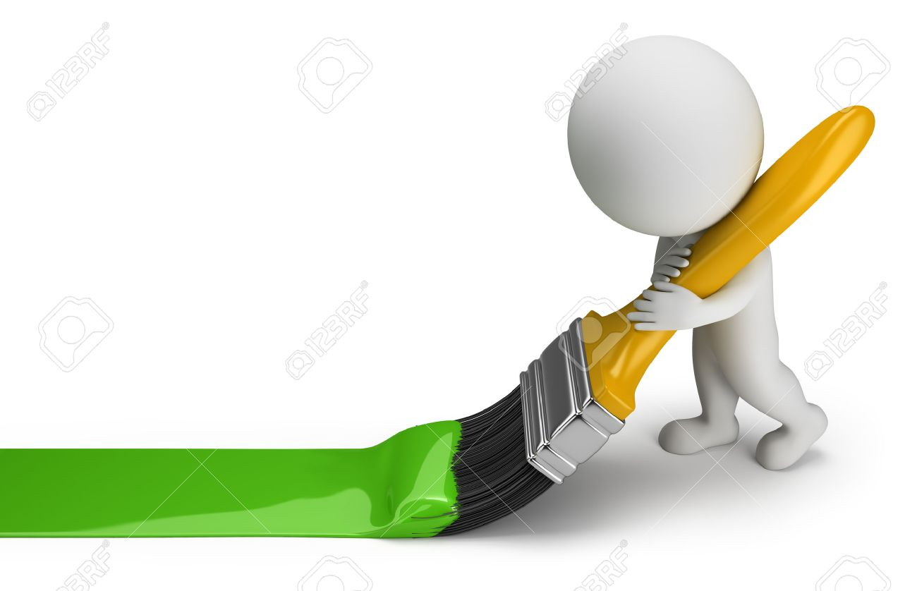 3d small person draws a green line brush 3d image White background - 26583780