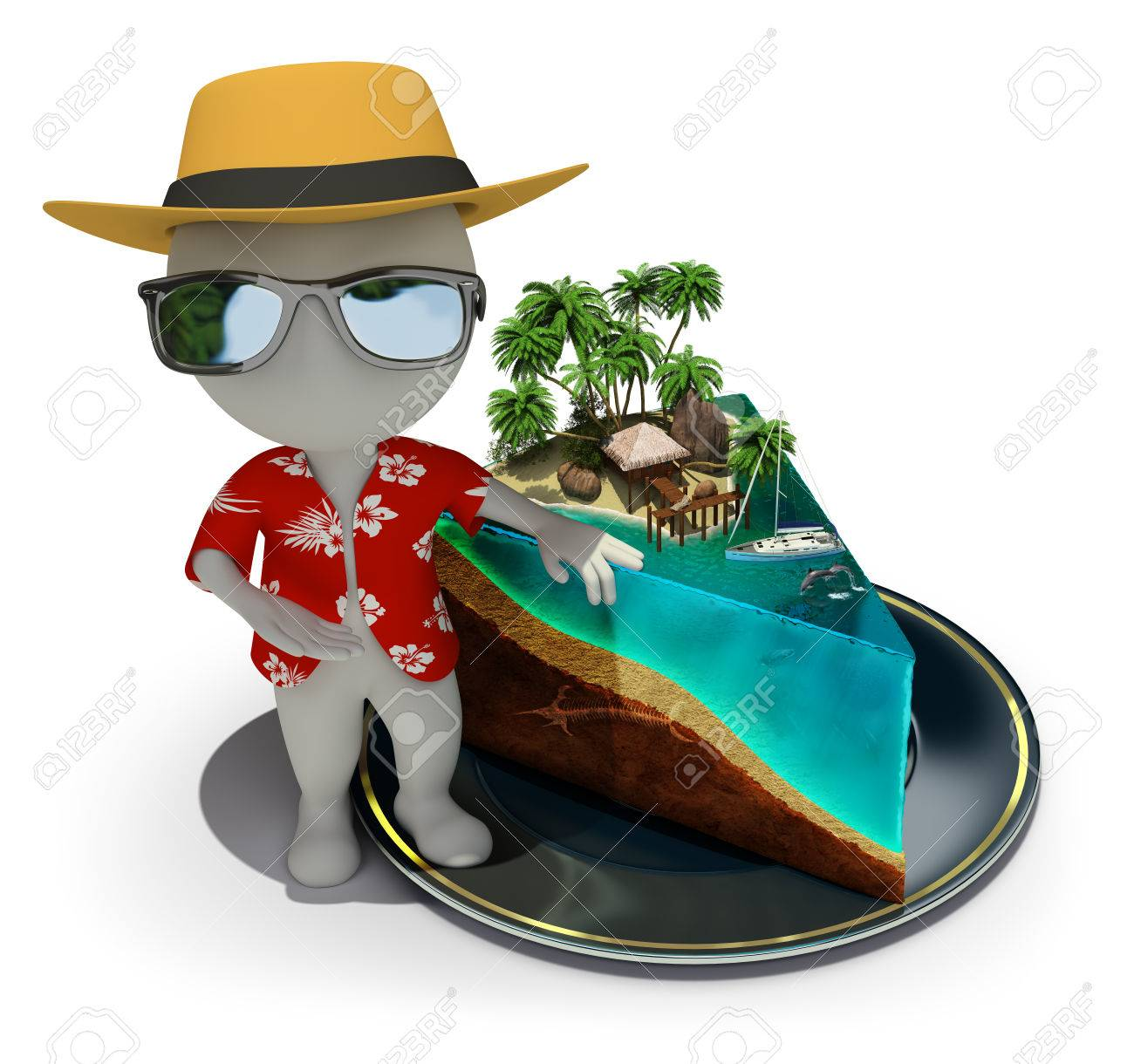 3d small person - tourist near a slice of cake in the form of paradise 3d image White background - 26583781
