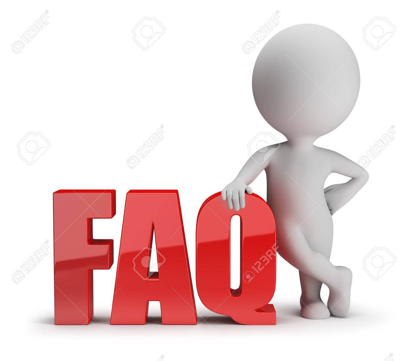 3d small person standing next to FAQ 3d image White background - 27727217