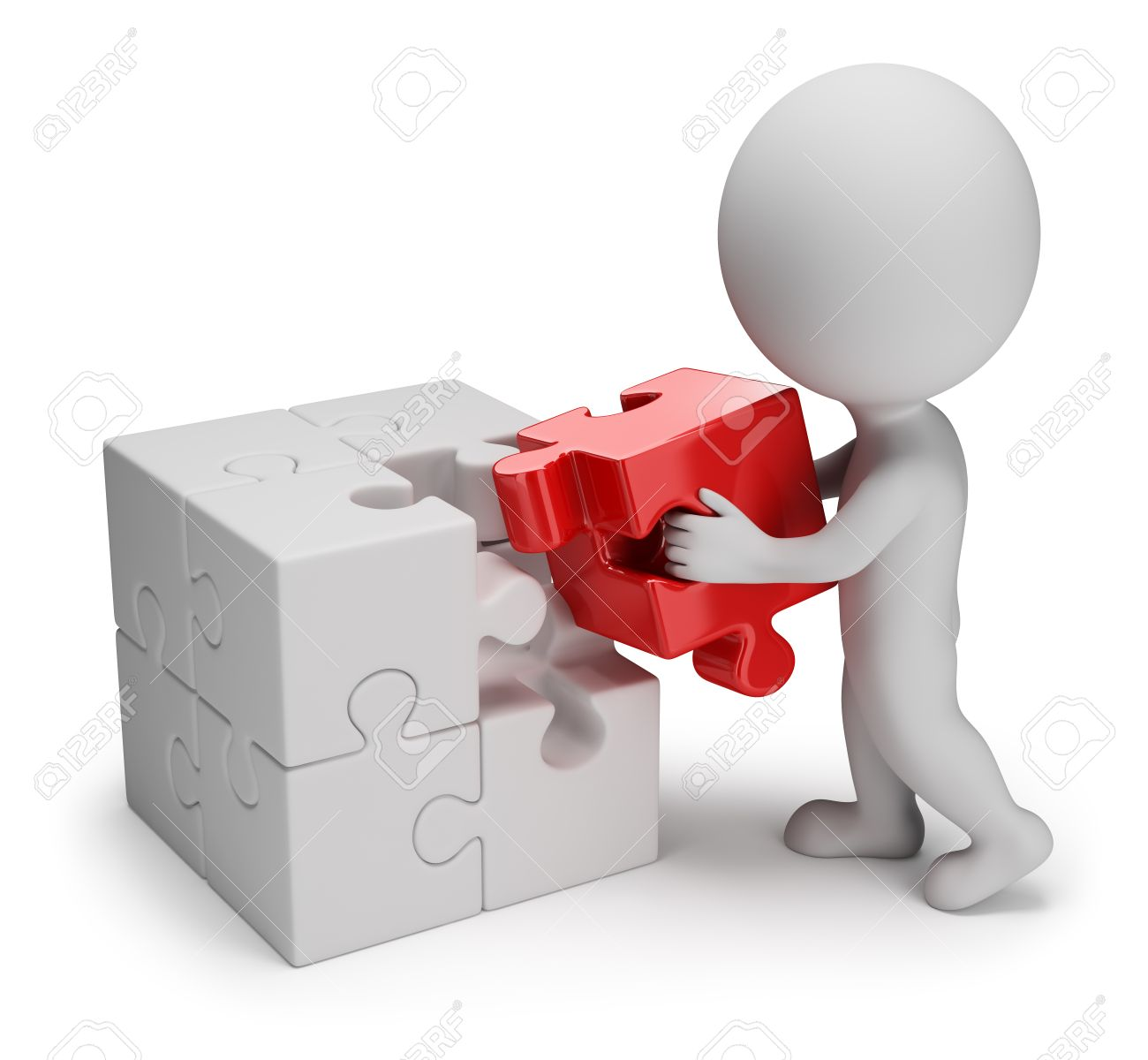 3d small person - man putting on a red puzzle in cell  3d image  White background Stock Photo - 27727221
