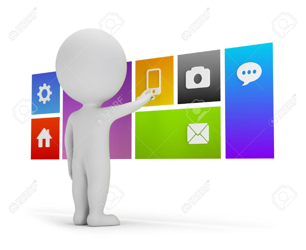 3d small person chooses menu user interface in a flat 3d image White background - 28511685