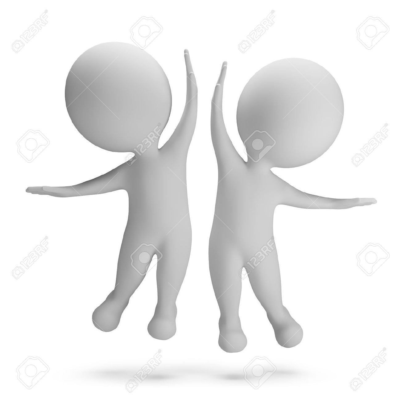 3d small people jumping for joy High-five 3d image White background - 28511689