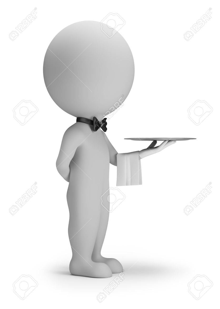 3d small people - waiter with tray  3d image  White background Stock Photo - 28511709