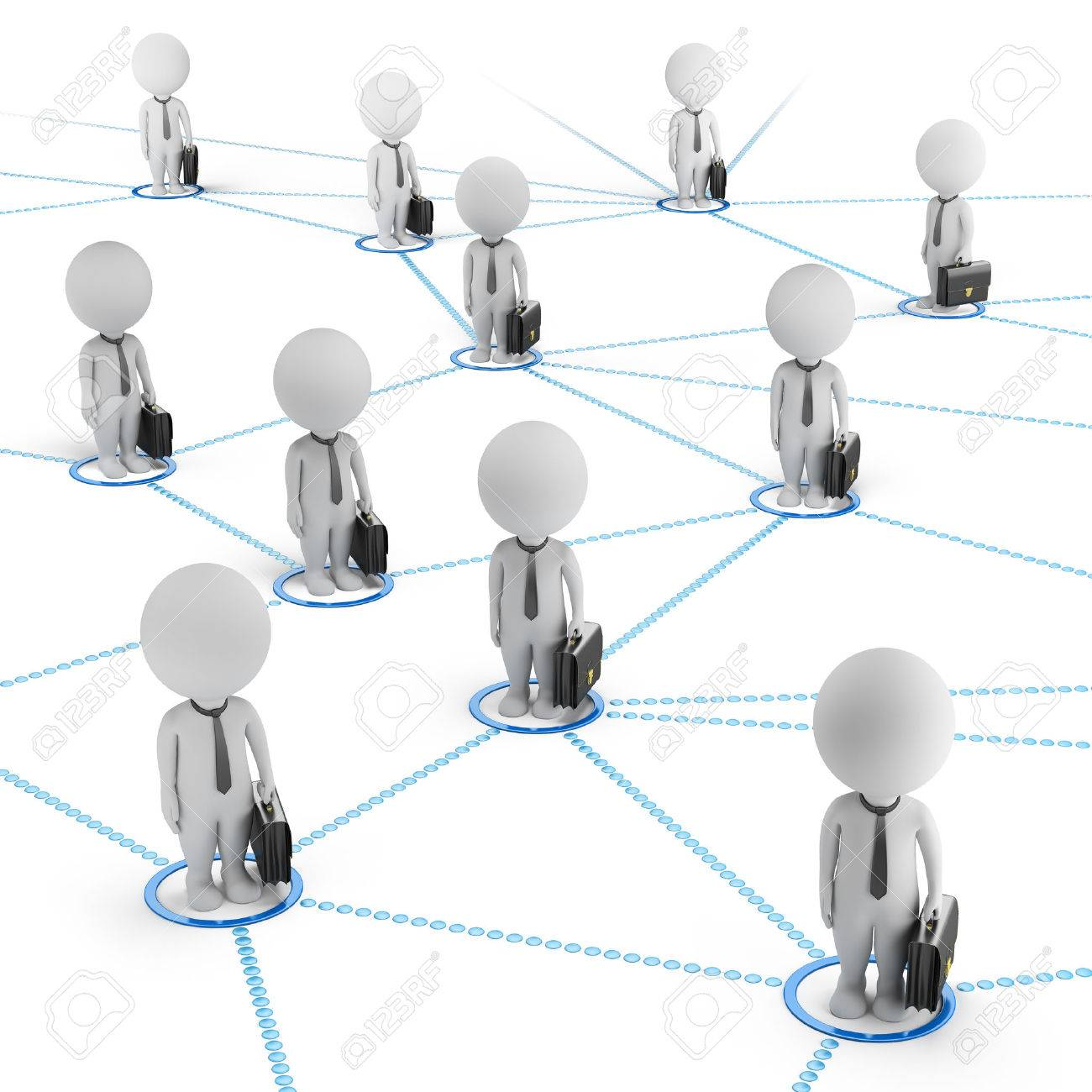 3d small people - businessmen standing in the global network of cells 3d image White background - 29691196