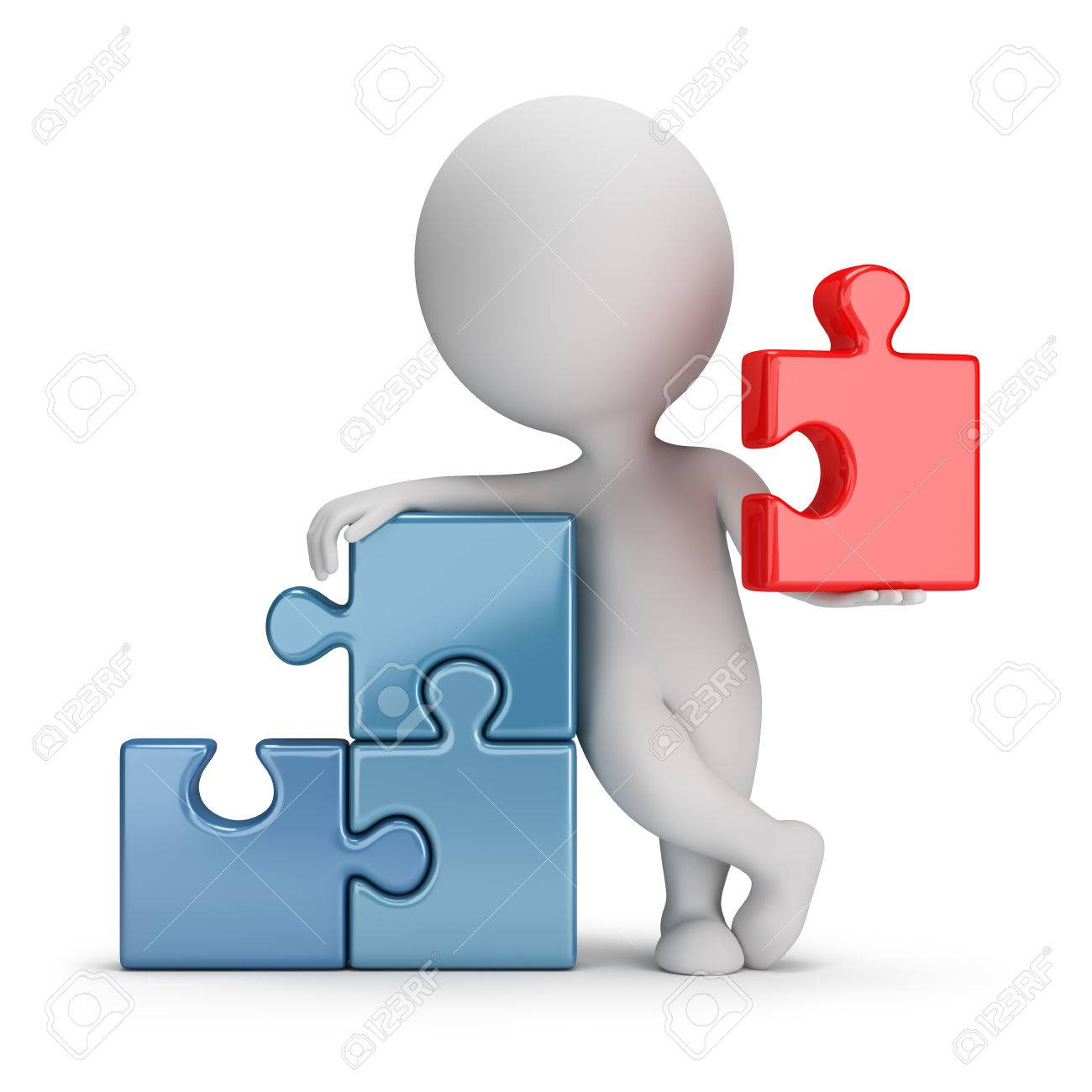 3d small person wielding main puzzle  3d image  White background Stock Photo - 29691197