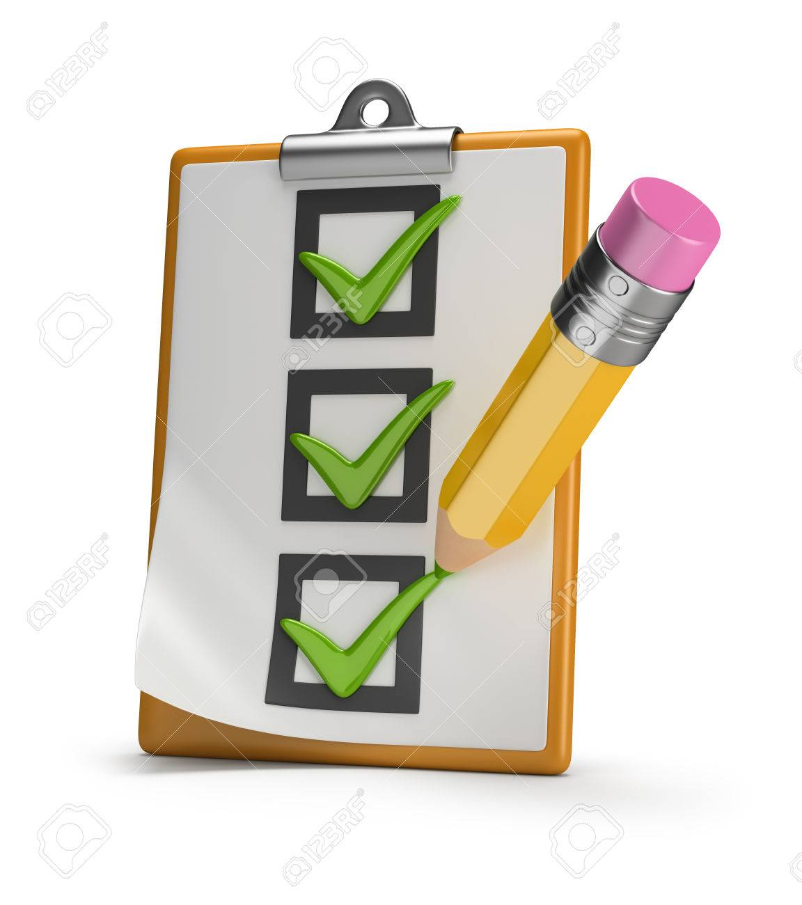 Checklist and pencil stamped tick 3d image White background - 29691199