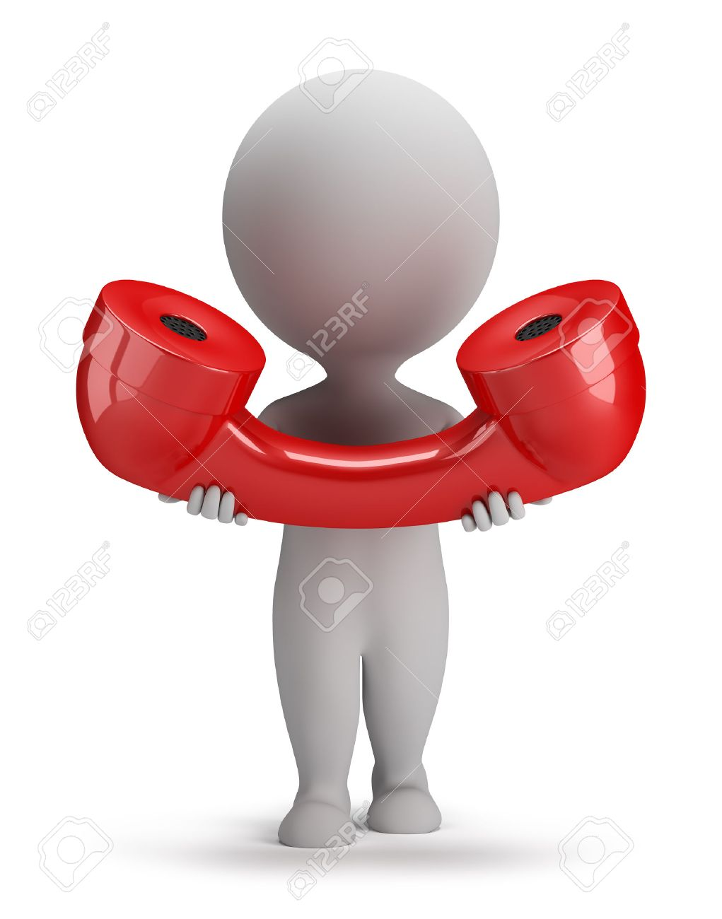 3d small person with a big red telephone receiver in hand. 3d image. White background. - 29728778