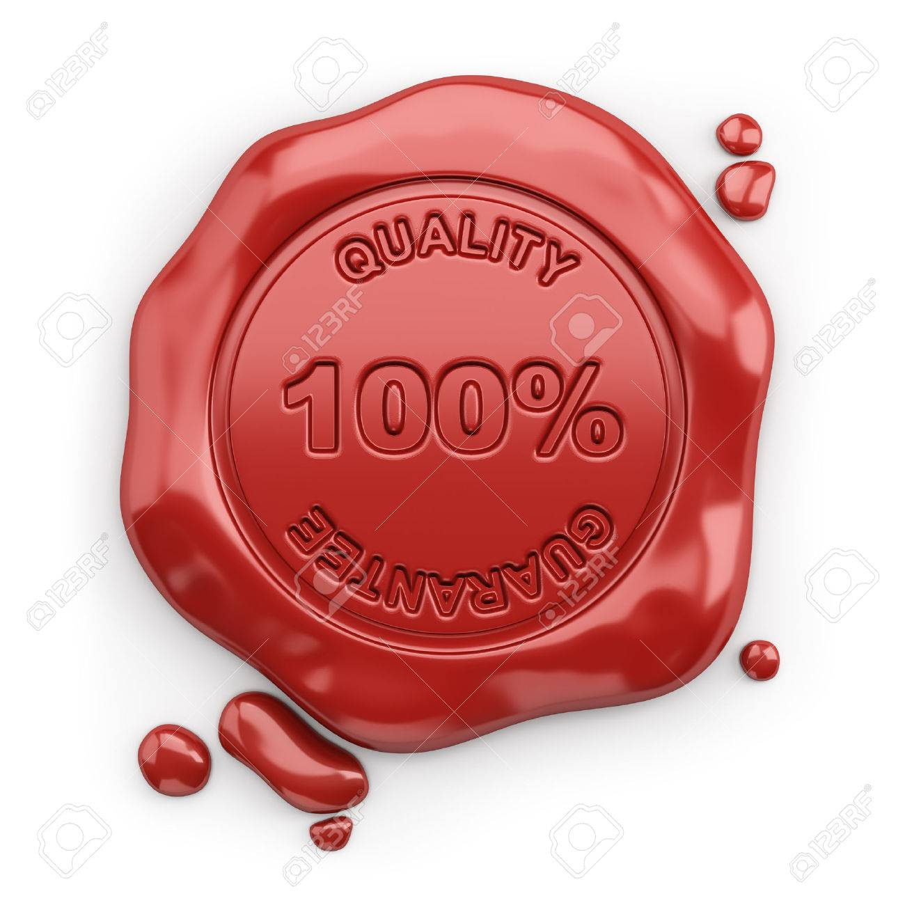 Wax seal with the inscription 100% quality guarantee. 3d image. White background. Stock Photo - 29756630