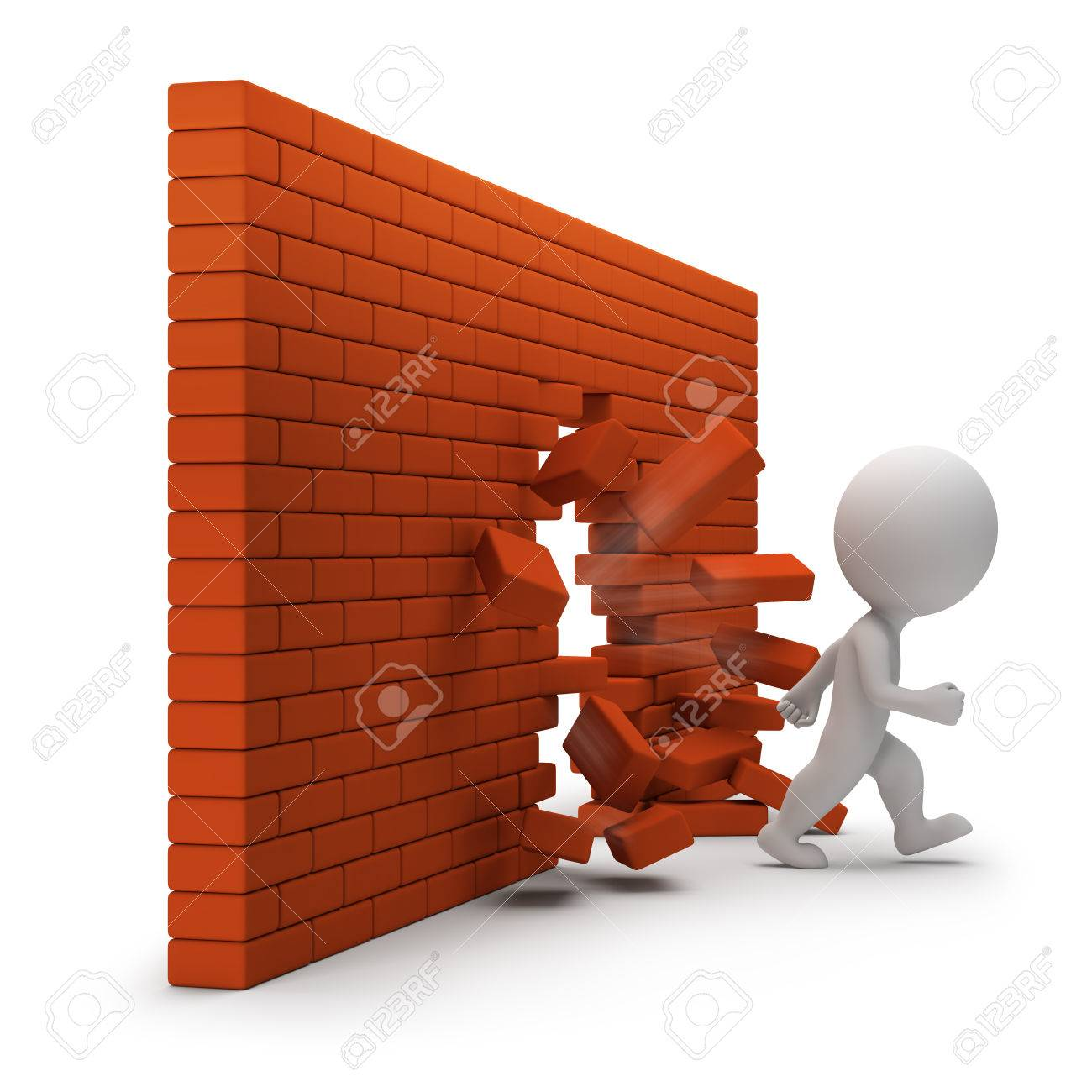 3d small person passing through a brick wall. 3d image. White background. - 32009856