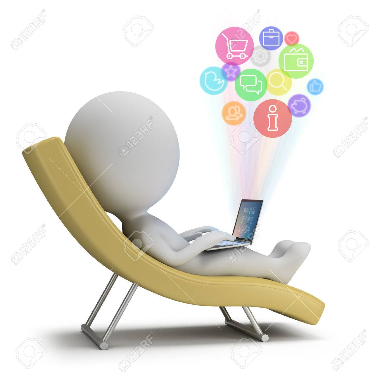 3d small person lies with a laptop on a chaise lounge. Internet services. 3d image. White background. - 32009857