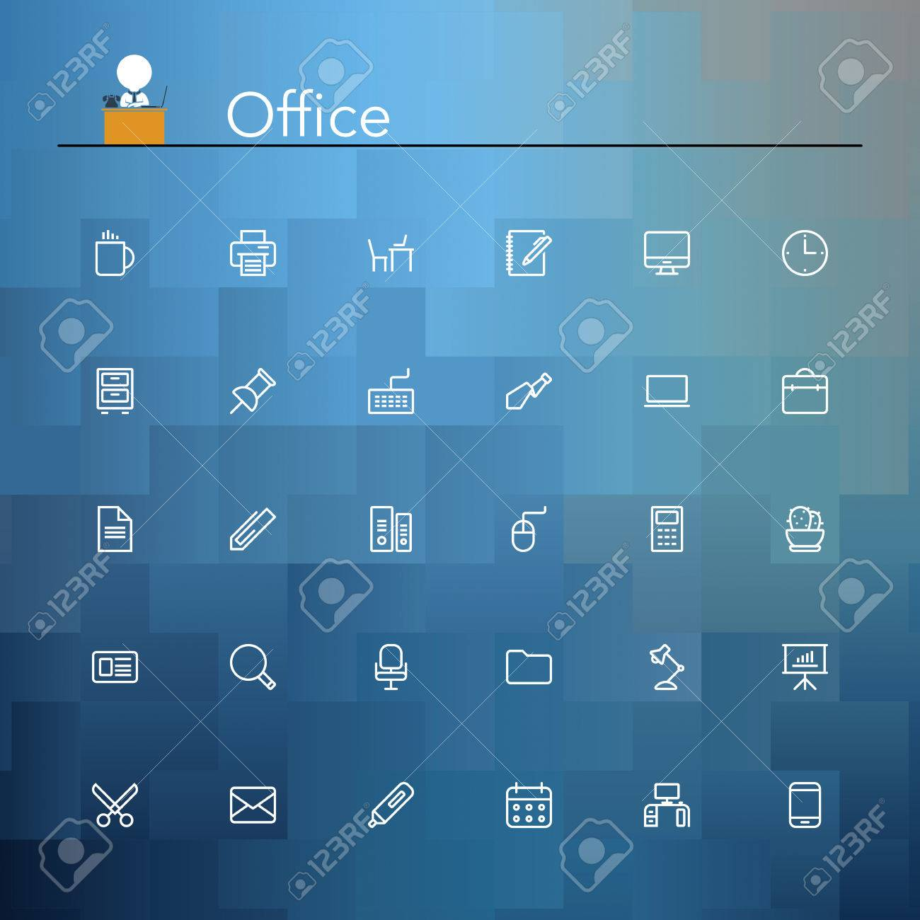 Office and workplace line Icons set. Vector illustration. Stock Vector - 32571194
