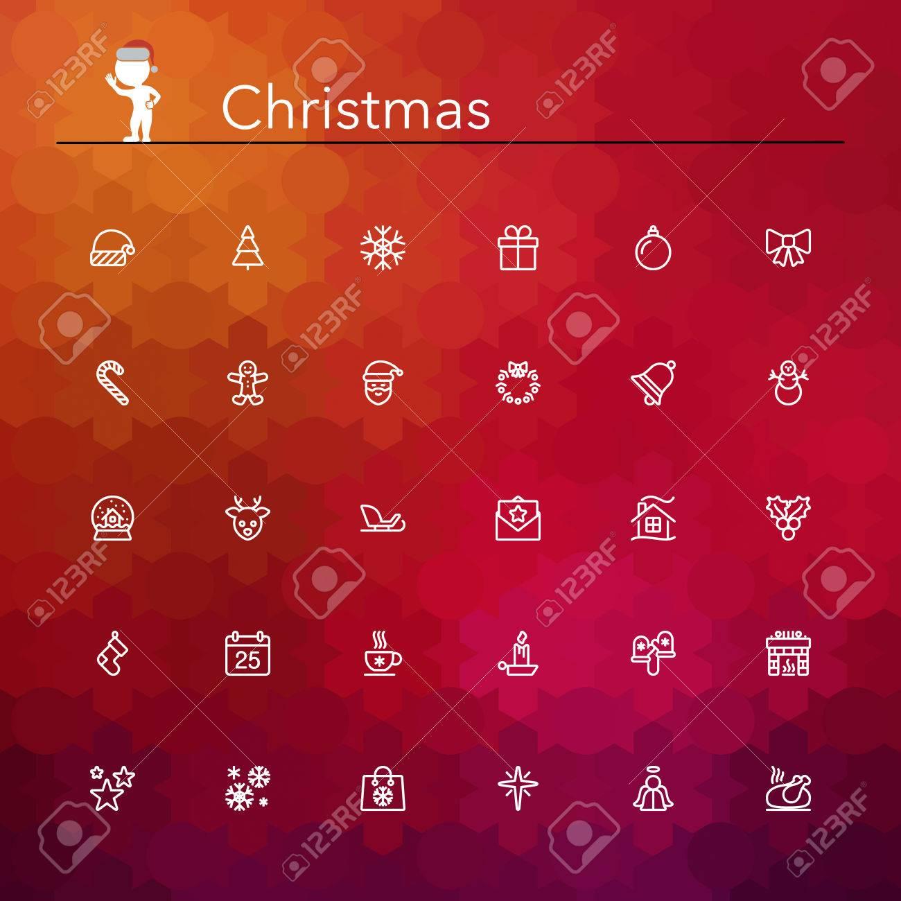 Christmas line Icons set. Vector illustration. - 32827033