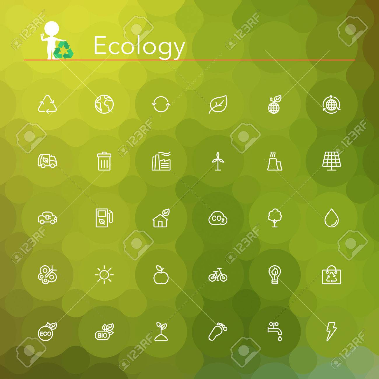 Ecology and Recycling line Icons set. Geometric background. - 33270021