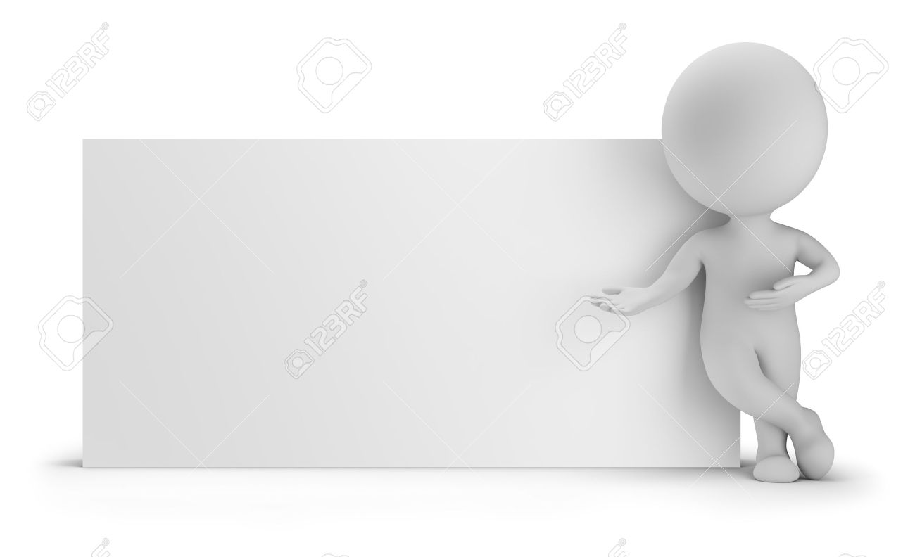 3d small person standing near an empty board. 3d image. White background. - 33771538