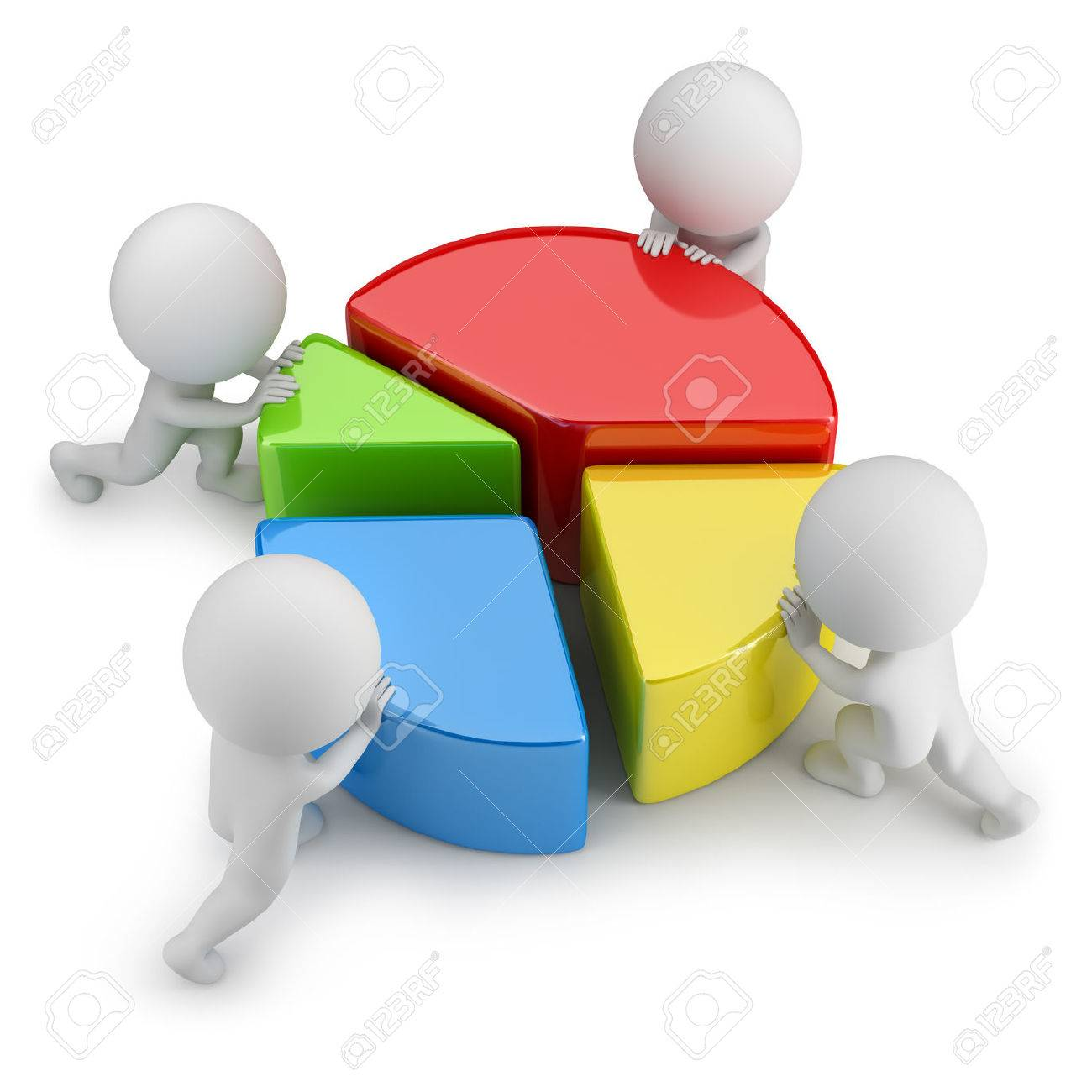 3d small people pushing dividing statistics. 3d image. White background. - 33945459