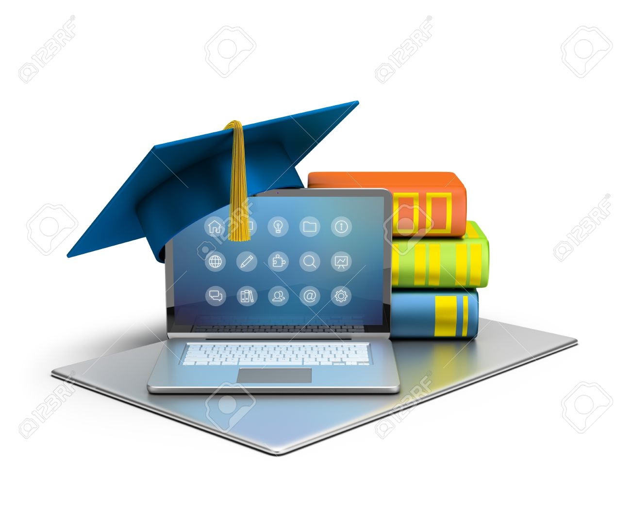 3d image. Laptop, hat and books. The concept of computer education. Isolated white background. - 33945526